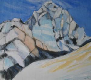 Berg i snö och sol
